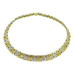 Two Tones Gold Woven Collar Necklace by Georges Lenfant, 18kt gold, France,c1965