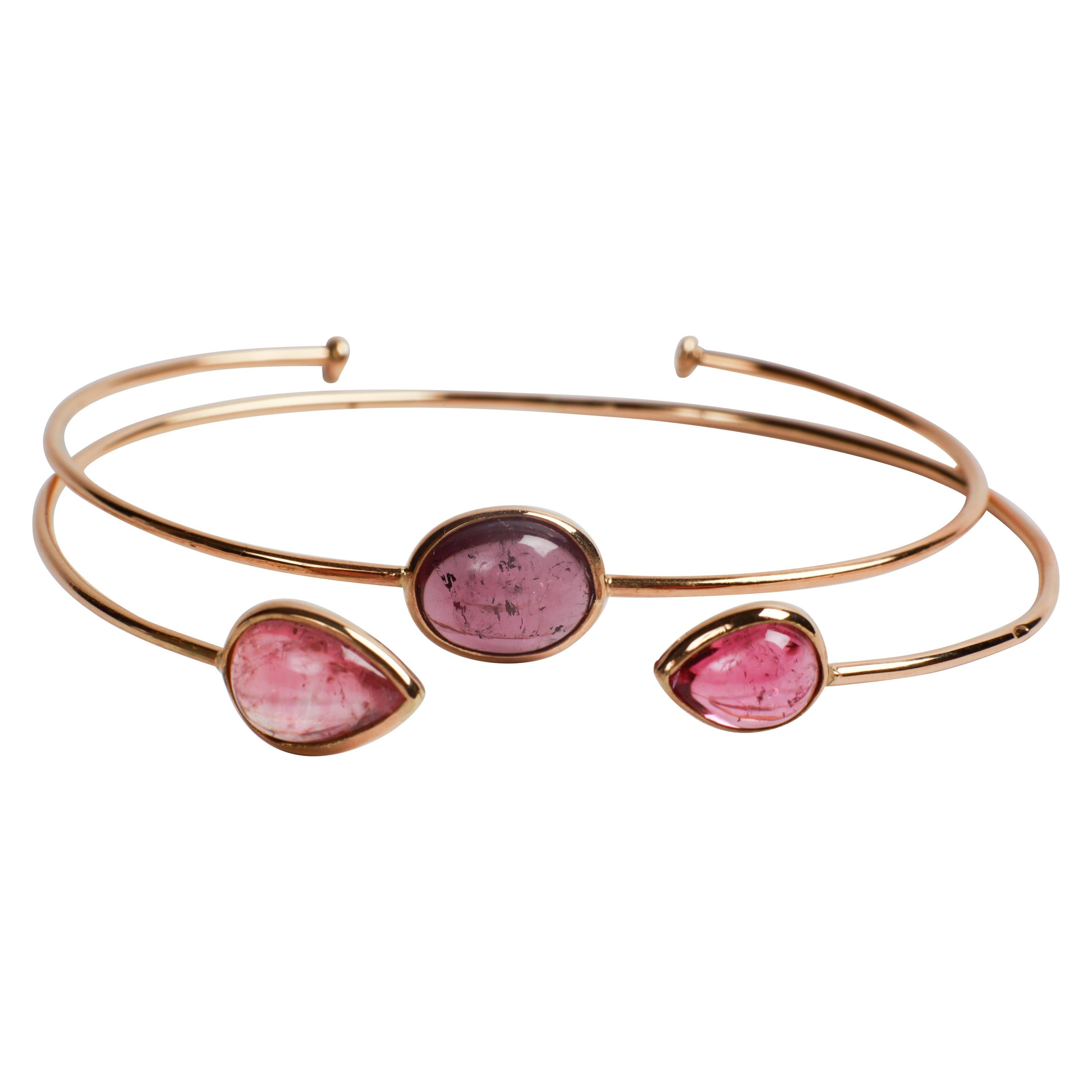 Two Tourmaline 18K Yellow Gold Bangle Bracelets Created by Marion Jeantet