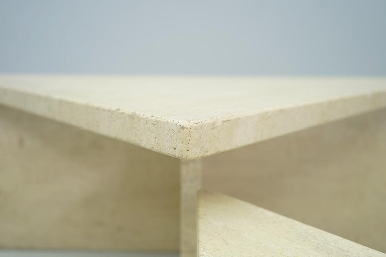 Two Triangle Tiered Travertine Coffee Tables, 1970s For Sale 4