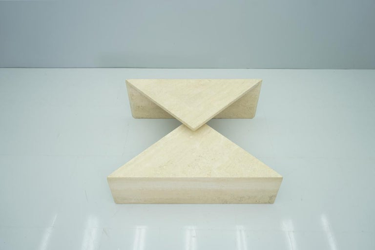 Two Triangle Tiered Travertine Coffee Tables, 1970s For Sale 7