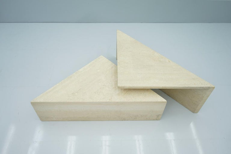 Two Triangle Tiered Travertine Coffee Tables, 1970s For Sale 8