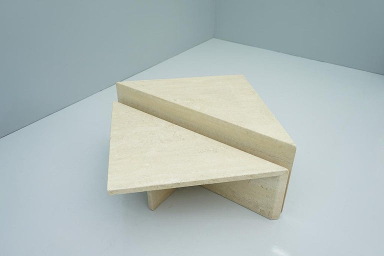 Late 20th Century Two Triangle Tiered Travertine Coffee Tables, 1970s For Sale