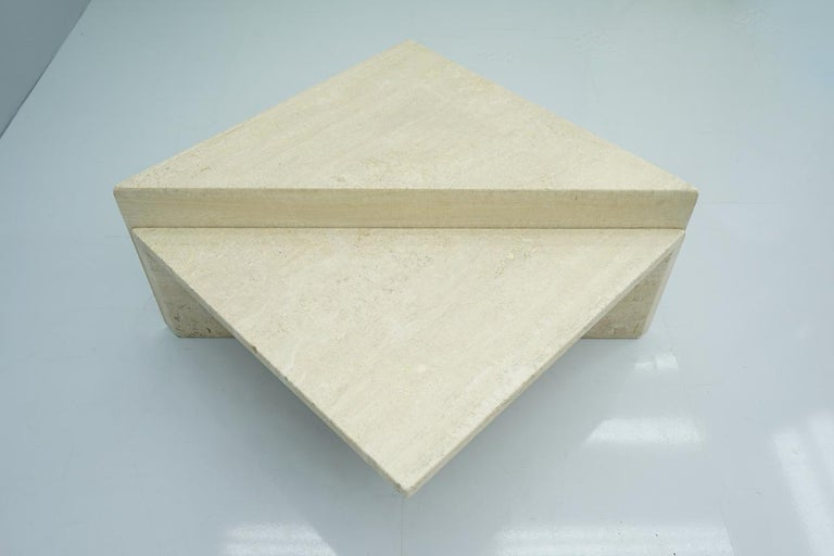 Two Triangle Tiered Travertine Coffee Tables, 1970s For Sale 1