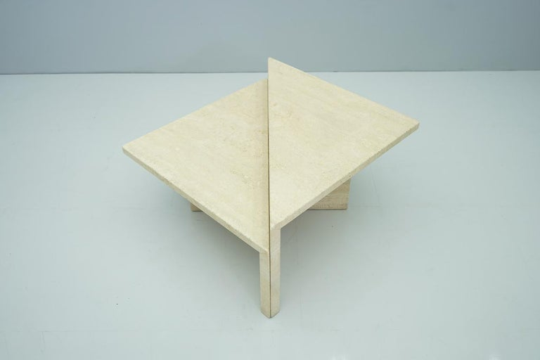 Two Triangle Tiered Travertine Coffee Tables, 1970s For Sale 3