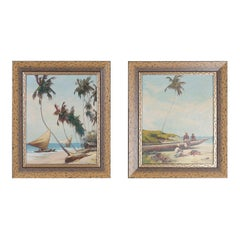 Two Tropical Oil Paintings on Canvas