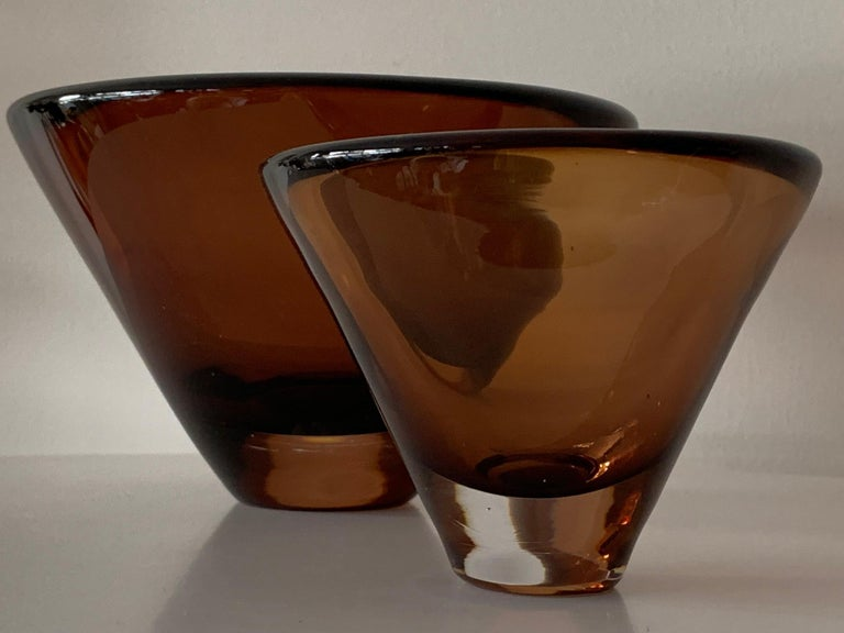 Unusual glass vessels by Vicke Lindstrand for Kosta Boda, signed # 5599 and # 55997. Beautiful dark brown color in Sommerso style, circa 1960s.