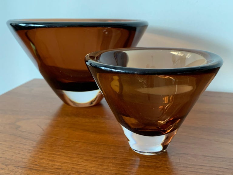 Mid-Century Modern Two Unusual Vicke Lindstrand for Kosta Boda Glass Vessels For Sale