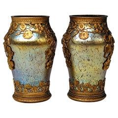 Two Vases Loetz Widow Klostermuehle Bohemia Art Nouveau Candia Papillon