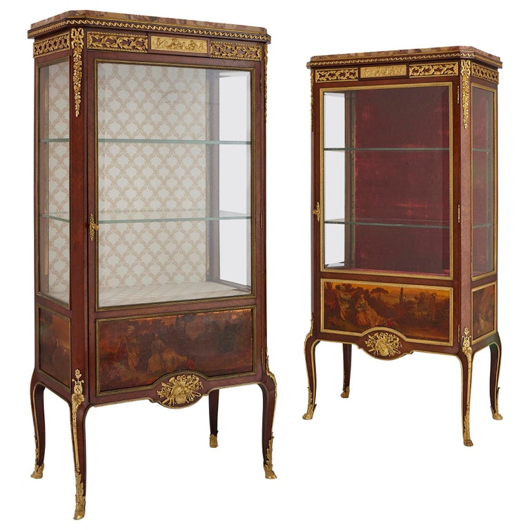 Two Vernis Martin and Gilt Bronze Mounted Display Cabinets by Linke For Sale