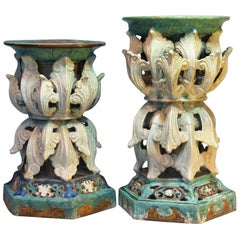 Two Very Decorative and Rare Massive Shiwan Pottery Stands, China, 19th Century