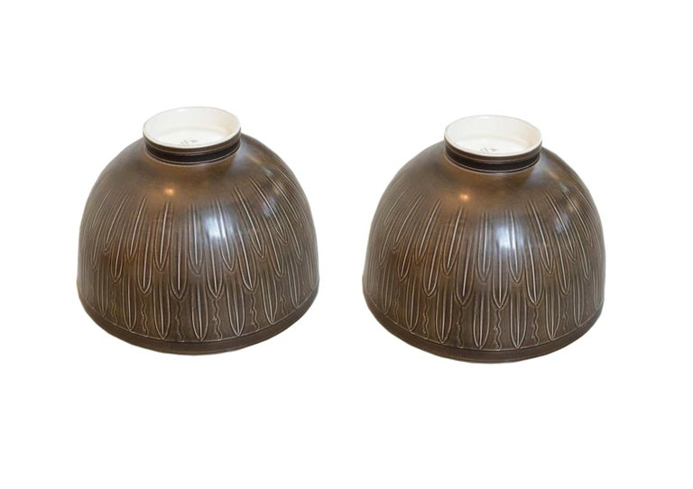 Mid-20th Century Two Very Large 1930s 'Solbjerg' Fruit Bowl by Nils Johan Thorsson for Aluminia For Sale