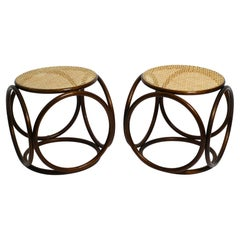 Two Very Well-Preserved Original Midcentury Stools Made of Bent Wood and Vienne
