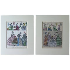 TWO Victorian Coloured Fashion Prints, Ladies Gazette 1856 London & Paris 1848