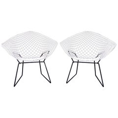 "Two Vintage 1960s ""421"" Diamond Chairs by Harry Bertoia for Knoll"