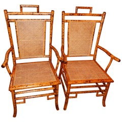Pair of Vintage Bamboo and Cane Side Chairs/Armchairs