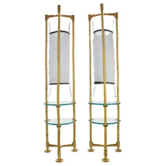 Two Vintage Brass Bamboo Floor Lamps, 1970s
