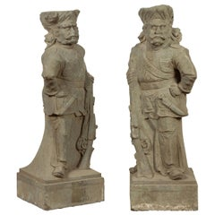Two Vintage Carved Stone Sculptures of Soldiers from the British Indian Army