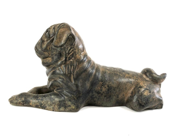 Vintage Cast Iron Pug Dog Sculpture In Good Condition In Essex, MA