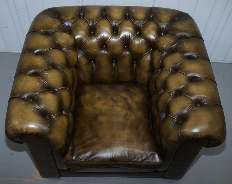 Two Vintage Chesterfield Leather Club Armchairs Feather ...