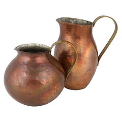 Two Vintage Copper Pitchers by Harald Buchrucker, Germany, 1950s