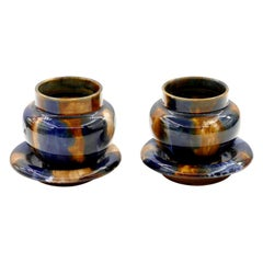 Two Vintage Denby Pottery Small Vases, Late 20th Century