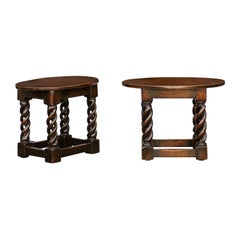 Two Vintage English Midcentury Oak Tables with Oval Tops and Barley Twist Bases