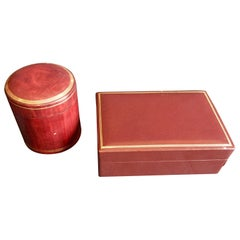 Two Vintage Italian Leather Bordeaux and Gold Desk Boxes