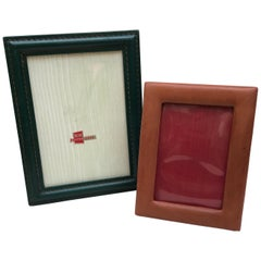 Two Vintage Leather Photo Frames