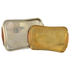 Two Vintage Metal Trays by Eugen Zint, Germany, 1950s