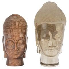 Two Vintage Quartz Heads of Buddha, China, 20th Century