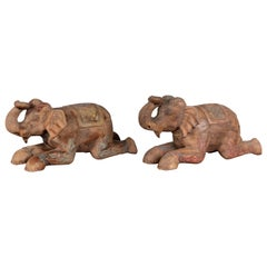 Two Vintage Thai Handmade Carved and Painted Elephant Sculptures from Chiang Mai