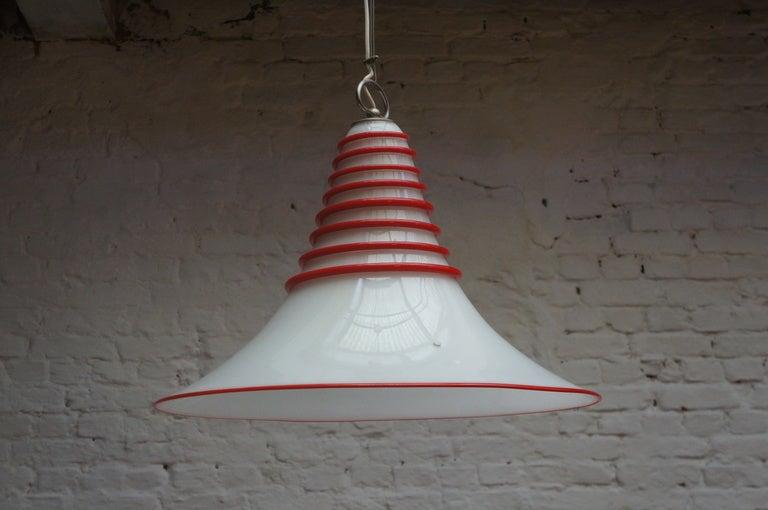 Italian Two Vistosi Murano Glass Pendant Light in White and Red For Sale