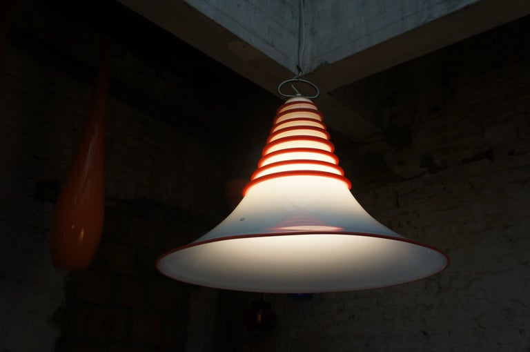 20th Century Two Vistosi Murano Glass Pendant Light in White and Red For Sale