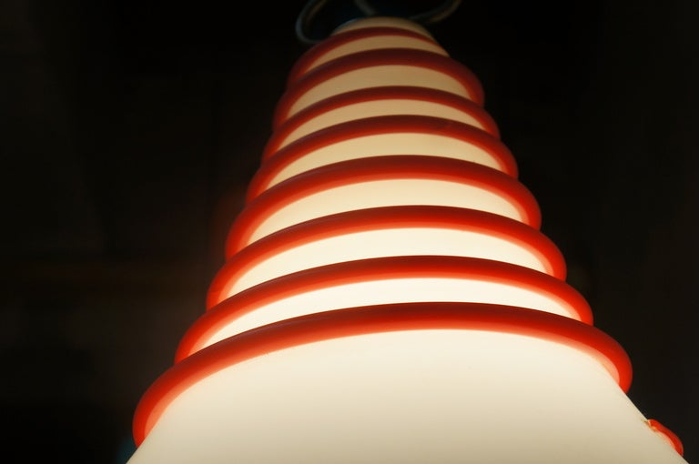 Metal Two Vistosi Murano Glass Pendant Light in White and Red For Sale