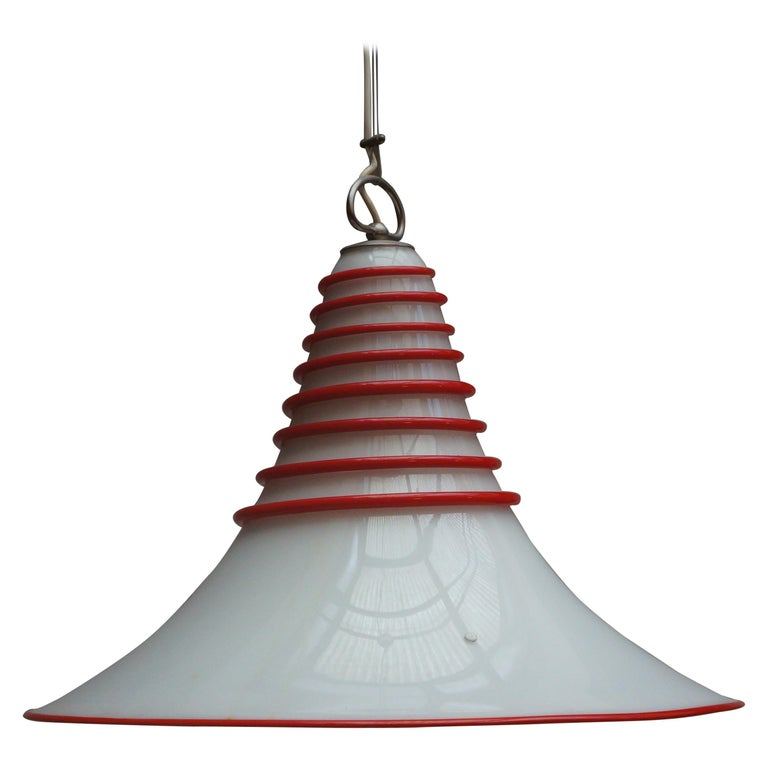 Two Vistosi Murano Glass Pendant Light in White and Red For Sale