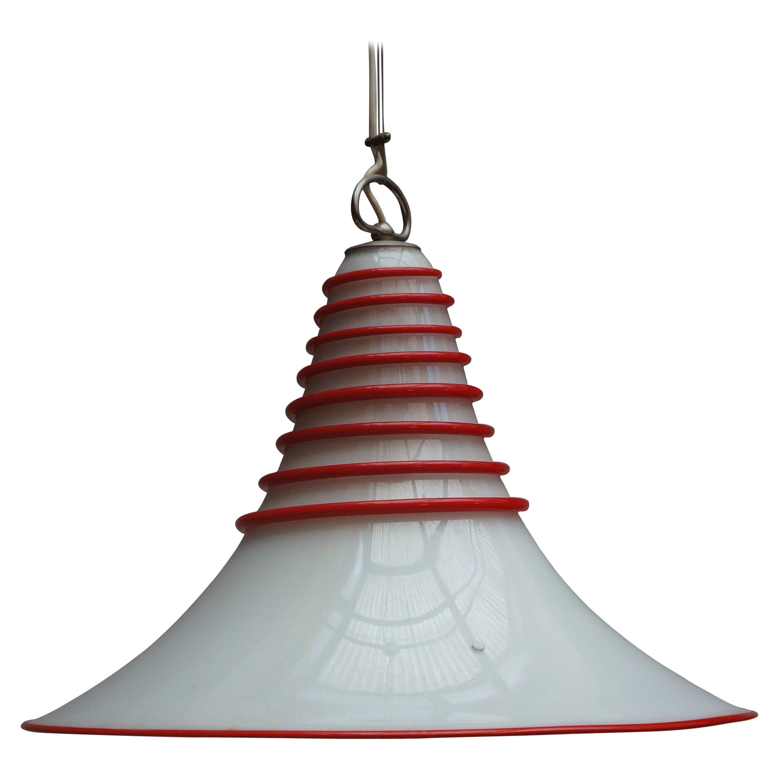 Two Vistosi Murano Glass Pendant Light in White and Red
