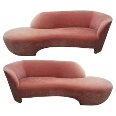 Two Vladimir Kagan for Weiman Preview Chaise Lounge Sofas