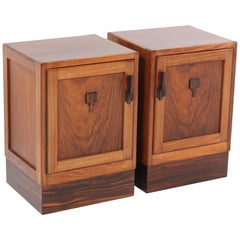 Two Walnut Art Deco Amsterdam School Nightstands or Bedside Tables, 1920s
