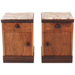 Two Walnut Art Deco Nightstands or Bedside Tables with Onyx Tops, 1930s