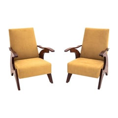 Two Walnut Art Deco Yellow Armchairs, 1950