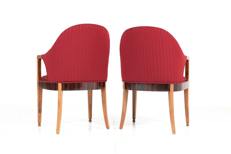 Mid-20th Century Two Walnut French Art Deco Armchairs with Ebony Macassar Lining, 1930s For Sale