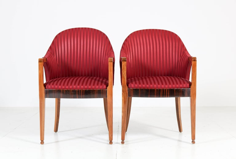 Fabric Two Walnut French Art Deco Armchairs with Ebony Macassar Lining, 1930s For Sale