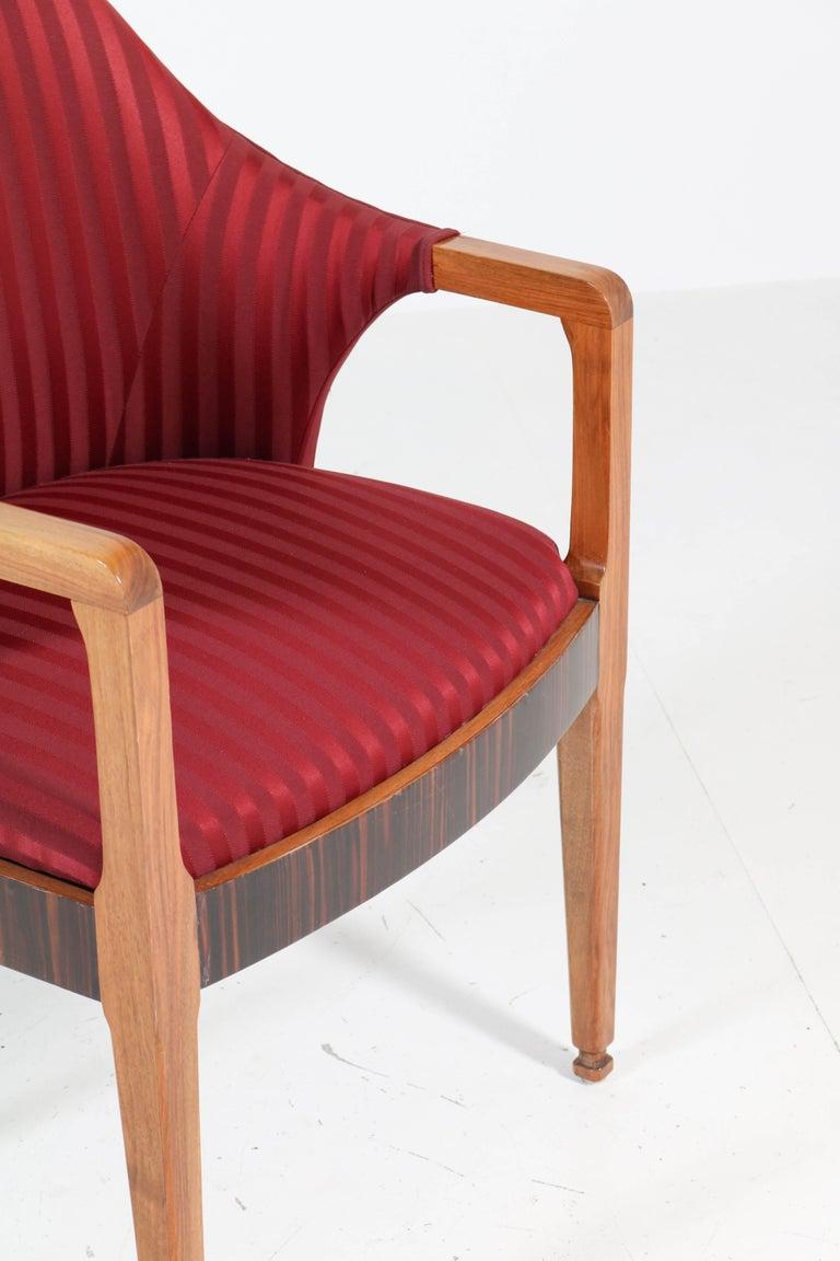 Two Walnut French Art Deco Armchairs with Ebony Macassar Lining, 1930s For Sale 4