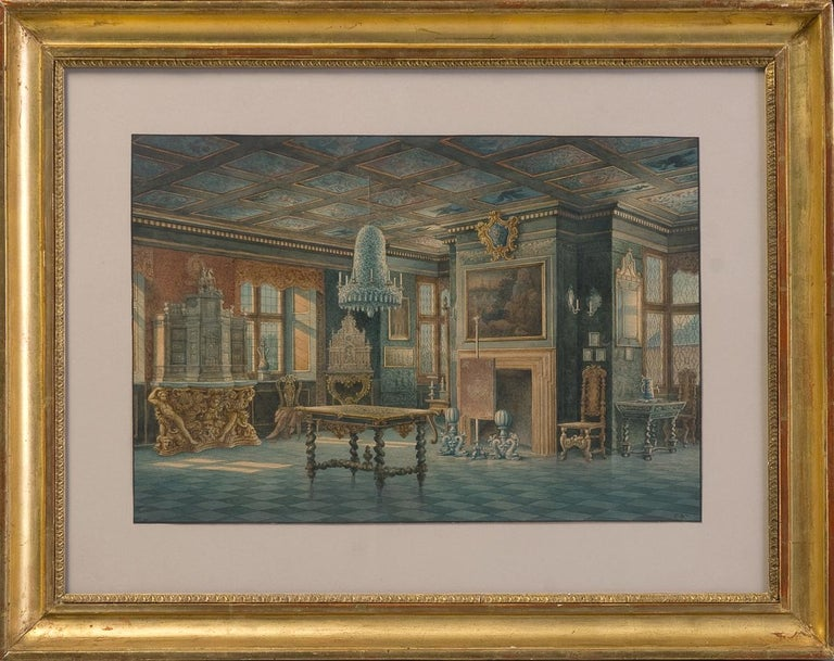 Two Watercolors ''Interior views of Rosenborg'' Copenhaguen Signed: Carl Neumann (1833-1891)