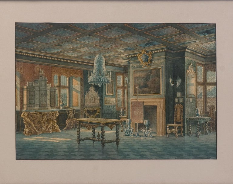 Two Watercolors ''Interior views of Rosenborg'' Copenhaguen Signed, Carl Neuman In Good Condition For Sale In Saint-Ouen, FR