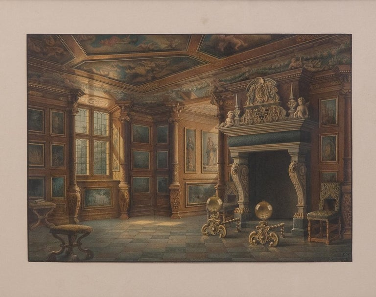 19th Century Two Watercolors ''Interior views of Rosenborg'' Copenhaguen Signed, Carl Neuman For Sale