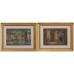 Two Watercolors ''Interior views of Rosenborg'' Copenhaguen Signed, Carl Neuman