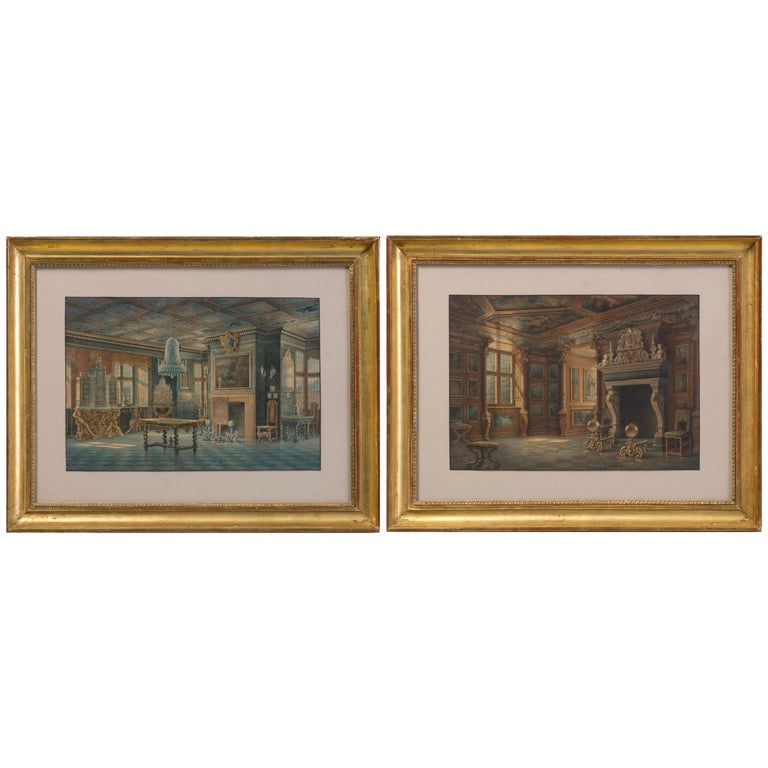 Two Watercolors ''Interior views of Rosenborg'' Copenhaguen Signed, Carl Neuman For Sale