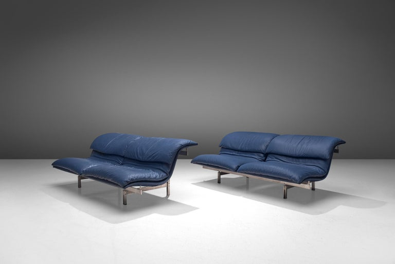 Mid-Century Modern Two 'Wave' Sofas in Sapphire Blue Leather by Giovanni Offredi For Sale