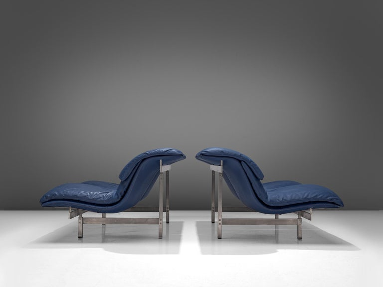 Italian Two 'Wave' Sofas in Sapphire Blue Leather by Giovanni Offredi For Sale